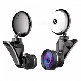 Mini Portable Beauty Selfie Fill LED Lamp with HD Wide Angle Camera Lens - Black