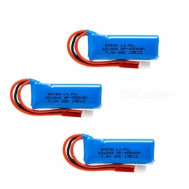 3 PCS 7.4V 450mAh 601844 Lithium Polymer High Power Li-po Batteries for Syma X8C X8W RC Quadcopter - blue