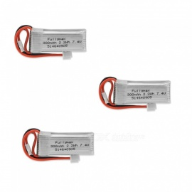 3 PCS 7.4V 300mAh Fullmax Lithium Polymer High Power Li-po Batteries for Syma X8C X8W RC Quadcopter - silver