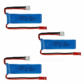 3 PCS 7.4V 500mAh 721855Lithium Polymer High Power Li-po Batteries for Syma X8C X8W RC Quadcopter-blue