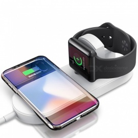 Mini Smile 2 in 1 Fast Charge Qi Wireless Charger Pad for Apple Watch 3/2/ IPHONE X / 8 Plus