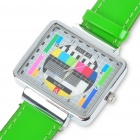 Fashion Television TV Test Pattern Wrist Watch - Green Band (1 x SR626)