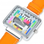 Fashion Television TV Test Pattern Quartz Wrist Watch - Orange Band (1 x SR626)