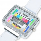Fashion Television TV Test Pattern Quartz Wrist Watch - White Band (1 x SR626)