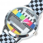 Fashion Television TV Test Pattern Quartz Wrist Watch - Plaid Band (1 x SR626)