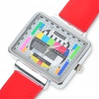 Fashion Television TV Test Pattern Quartz Wrist Watch - Red Band (1 x SR626)