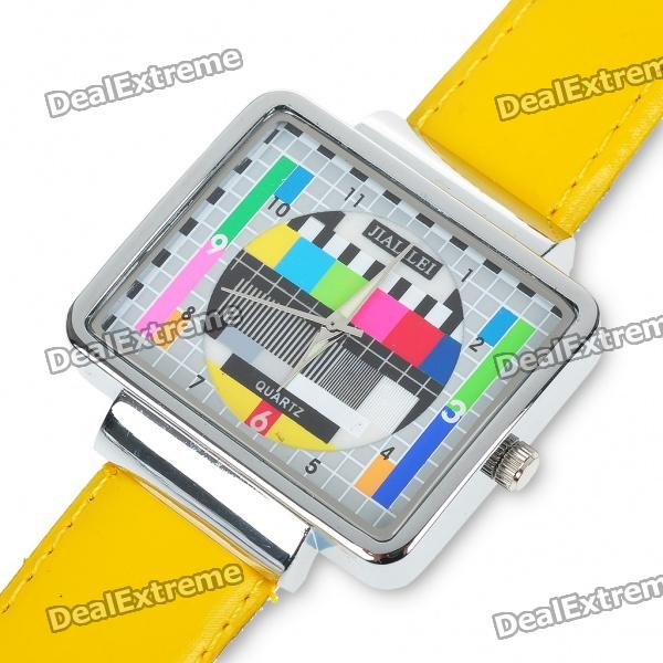 Fashion Television TV Test Pattern Quarz-Armbanduhr - Yellow Band (1 x SR626)