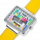 Fashion Television TV Test Pattern Quartz Wrist Watch - Yellow Band (1 x SR626)