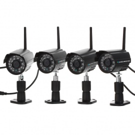 4 x 2.4GHz Wireless Waterproof Digital Camera Security Kit with 24-IR LED Night Vision