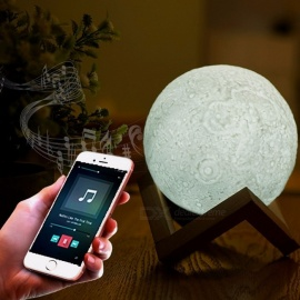 13cm/18cm Multicolor LED Moon Lamp Rechargeable Night Light With Bluetooth Stereo Speaker And Remote Control For Home Changeable/White
