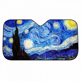 Car Windshield Sunshades With Five Layers Auminium Foil Summer Car Windshield Sunshades Van Gogh's Star Sky Pattern Blue