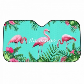 Car Windshield Sunshade Flamingo Pattern, Cartoon Front Auto Car Windshield Sunshades Five Layers Auminium Foil 127*69cm Green