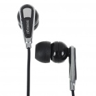 Noise Isolation In-Ear Stereo Earphone - Black + Silver (3.5mm Jack/150CM-Cable)