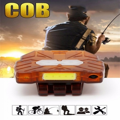 Small Exquisite Dual Purpose Intelliget Sensor Hat Clip Lamp Headlights Fishing Light USB Charging Cap Lights Hands Free Cold White/Brown