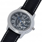 Fashion Leather + Stainless Steel Waterproof Quartz Wrist Watch - Silver + Black (1 x SR626)