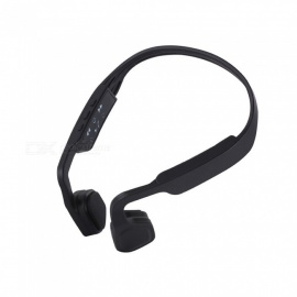 High Quality Bone Conduction Wireless Bluetooth 4.1 Stereo Headphone Neckband Noise Cancelling Music Headset with Mic- Black