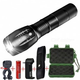 ESAMACT LED Flashlight Zoomable Focus Torch Lamp Light Tactical Torch Lantern for Camping Biking No Battery