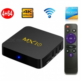 MX10 Smart TV Box Android 8.1 RK3328 Qua-Core 4k HD Wi-Fi USB3.0 Set-top Box Media Player 4GB RAM, 64GB ROM - Black (EU Plug)