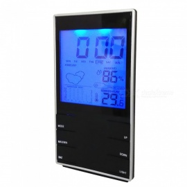 HTC-2S High Precision LCD Home Electronic Thermometer / Hygrometer with Backlight and Clock Function