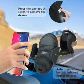 Measy Automatic Induction Dashboard Suction Mount Wireless Charger w/ One Hand Operation for IPHONE X 8/8 Plus, Samsung Galaxy