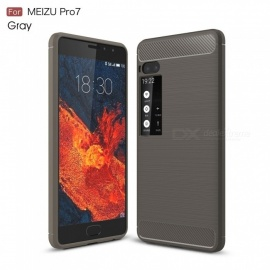 ZHAOYAO MEIZU Carbon Fiber Drawing Pattern Protective TPU Soft Cover Case for Meizu Pro 7 - Grey