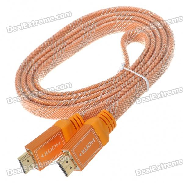 Gold Plated HDMI V1.4 A-Type Male to A-Type Male Flat Connection Cable - Orange (1.8M-Length)