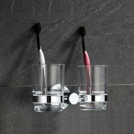290902-CP Wall Mounted Chrome Copper Toothbrush Holder Bath Hardare Set, Double Cup Tumbler Holder