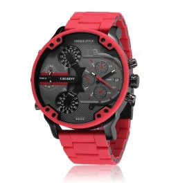 CAGARNY 6830 Fashion Alloy Rubber Case Sports Quartz Analog Wrist Watch w/ True Double Dial Display, Alloy Rubber Band - Red