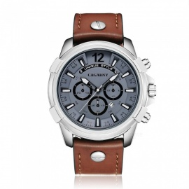 CAGARNY 6882 Men's Fashion Stainless Steel Case Quartz Analog Wrist Watch w/ 3-Decorative Subdials, PU Leather Strap - Brown