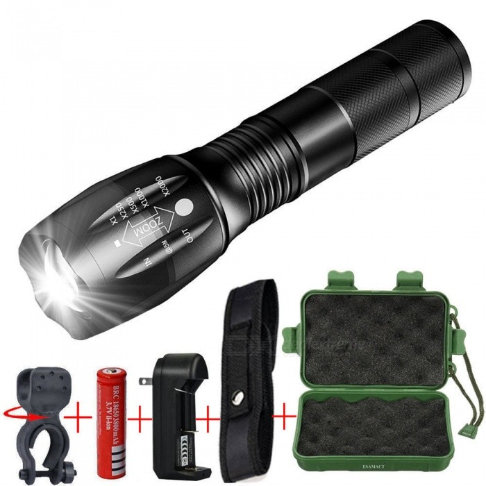 Ultrafire 8000LM 5 Modes T6 LED 18650 Flashlight Zoomable Focus Torch Lamp USA
