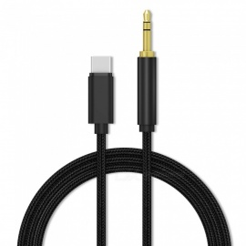 3.5mm Male Aux Audio Cable Auxiliary Stereo Cord for USB Type-C Phone Headphone Car - Black