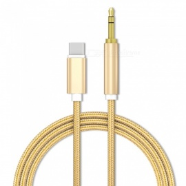 3.5mm Male Aux Audio Cable Auxiliary Stereo Cord for USB Type-C Phone Headphone Car - Gold