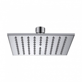 "6"" Contemporary Chrome Brass Square Rain Shower Head - Silver"