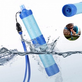 Portable ABS Plastic Water Filter Pressure Purifier Cleaner Outdoor Camping Hiking Wild Drinking Safety Emergency Blue