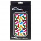 Fashion Protective Full Front and Backside Case with Screen Guard + Cleaning Cloth Set for Iphone 4