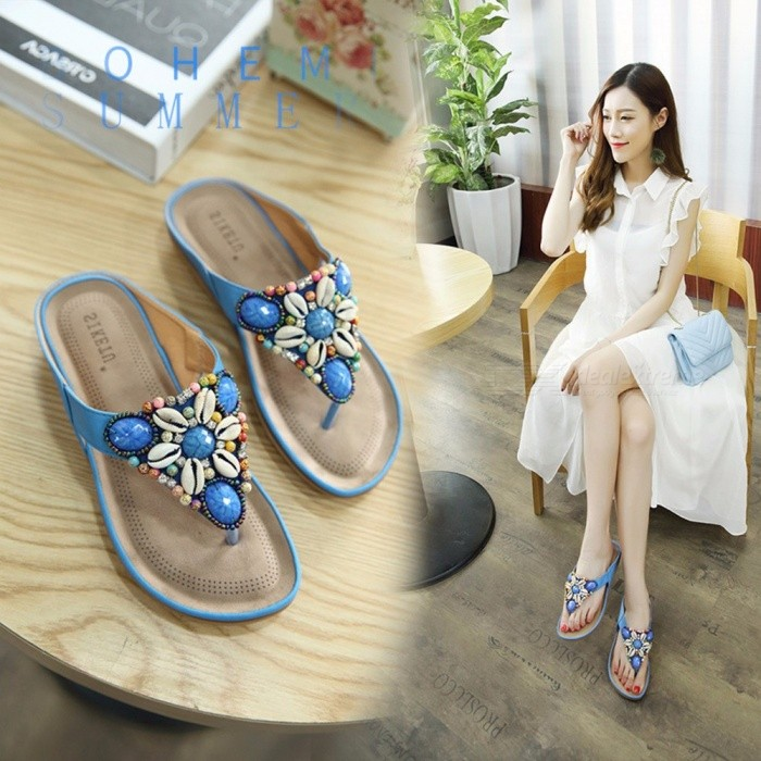 cba3844d0ea14c Fashion Bohemian Nation Style Womens Beaded Flat Slippers Ladies Totem  Sequins Flowers Rhinestones Flip-flops Sandals Sky Blue 35