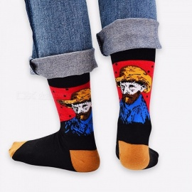 Retro World Famous Painting Socks For Men Women, Vintage Literary Abstract Oil Painting Cotton Tube Socks (1 Pair) Black