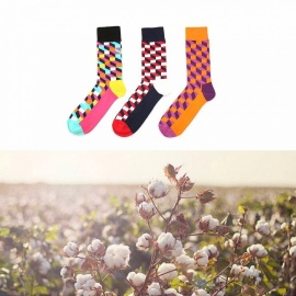 Happy Socks, Causal Breathable Lattice Hit Color New Harajuku Socks, Colored Cotton Men\'s Crew Socks (1 Pair) Sky Blue