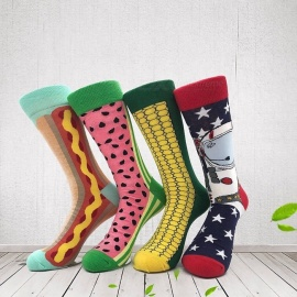 Fashion Men\'s Cotton Socks, Colorful Jacquard Art Socks, Hit Color Dot Crew Happy Socks (4 Pairs / Random Color) Multi
