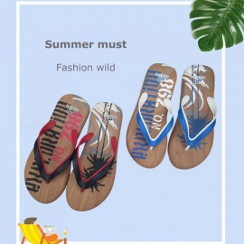 PAWEIDI Stylish Tree Letters Print Summer Beach Shoes Mens Flip Flops Anti-Slip Abrasion Resistant Flat Slippers For Men Blue/39