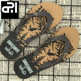 PAWEIDI Bird Leaves Print Casual Summer Beach Shoes Mens Flip Flops Anti-Slip Abrasion Resistant Flat Slippers For Men Black/39