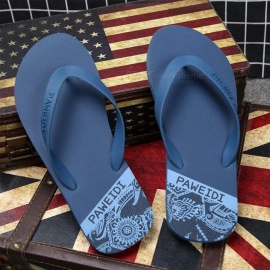 PAWEIDI Summer Beach Shoes Mens Flip Flops Anti-Slip Abrasion Resistant Flat Slippers For Men Black/39