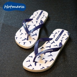 Hotmarzz 1 Pair Birds Pattern Mens Flip Flops Summer Flat Slippers Anti-Slip Beach Shoes Mens Sandles Navy Blue/39