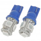 T10 1W 20-30 Lumen 5 x 5050 SMD LED Car Blue Light Bulbs (12V/Pair)