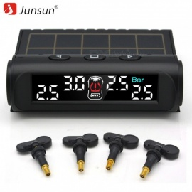 Junsun TPMS Tire Pressure Monitoring System, Solar Charge VA HD Digital LCD Screen Auto Wireless Alarm with Build-in 4 Sensors