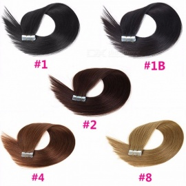 100% Original Human Hair Bundles, 20 Inches PU Non-Remy Tape Hair Extension (20 PCS) #1/20 inches/20 pcs