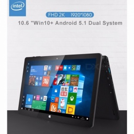 10.6 Inches Quad-Core Win10 Android 5.1 Dual System Tablet PC With 2GB RAM, 32GB ROM, 7000mAh Battery Black