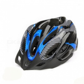 Carbon Fiber 21-Hole Adjustable Bicycle Helmet - Black + Blue