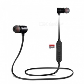 Cwxuan Sport Bluetooth Earphone, Metal Magnetic Wireless Headphone, Running Earbud Stereo Headset with TF Card Slot - Black