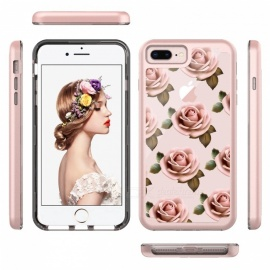 JEDX Heavy Duty Pattern Printing PC + TPU Hybrid Case Accessory for IPHONE 8 Plus / 7 Plus 5.5 inch - Elegant Flowers